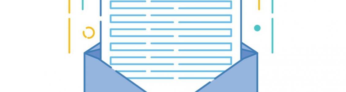 Symbol of sheet of paper in envelope